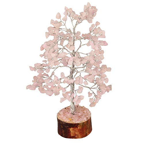 Rose Quartz  Gemstone Money Tree Feng Shui Bonsai Silver Wire