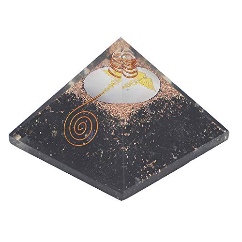 Black Tourmaline Gemstone Orgone Pyramid with Caduceus Symbol Size: 2.5-3 Inch