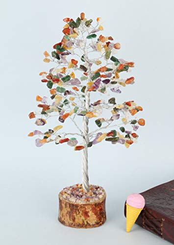 Mix Chakra Silver Wire Gemstone Feng Shui Bonsai Money Tree Size: 10 Inch
