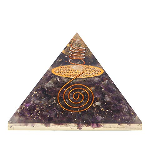 Amethyst Gemstone Orgone Pyramid with Flower of Life Symbol Size: 2.5-3 Inch
