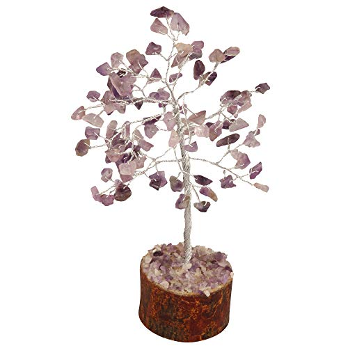 Amethyst Gemstone Money Tree Feng Shui Bonsai Tree Size: 7-8 Inch ( Silver Wire )