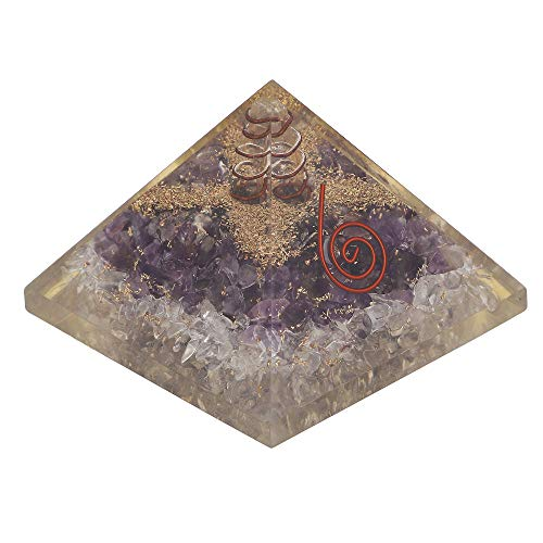 Amethyst & Clear Quartz Gemstone Orgone Pyramid with Crystal Point Size: 2.5-3 Inch