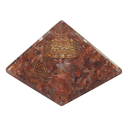 Carnelian Gemstone Orgone Pyramid with Flower of Life Symbol Size: 2.5-3 Inch
