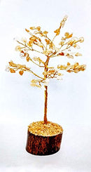 Citrine Gemstone Money Tree Feng Shui Bonsai  Size: 7-8 Inch (Silver Wire)