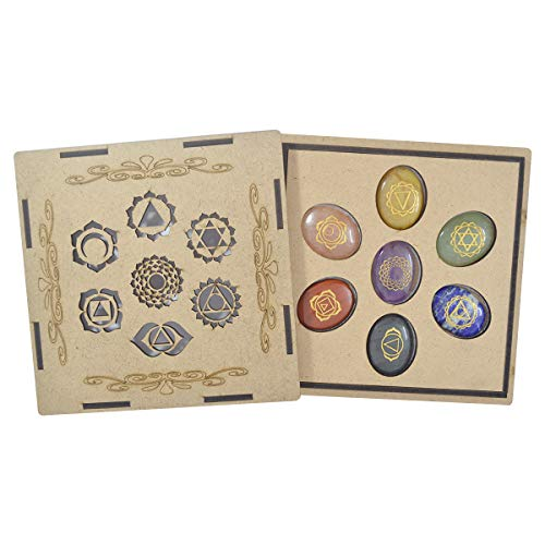 Seven Chakra Gemstone Engraved Oval Shape Stone Set with Wooden Box