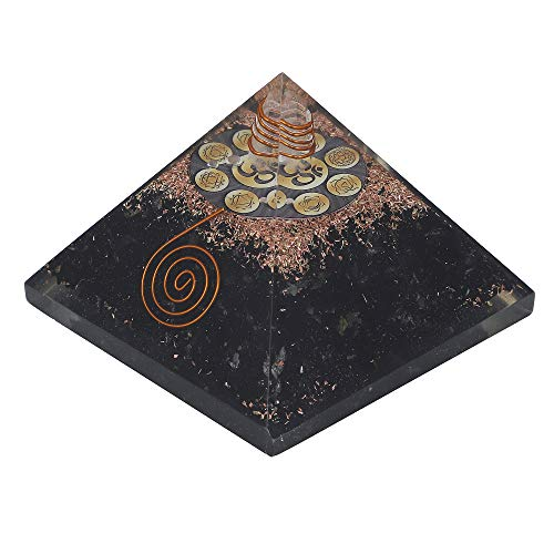 Black Tourmaline Gemstone Orgone Pyramid with Healing Symbols Size: 3-3.5 Inch