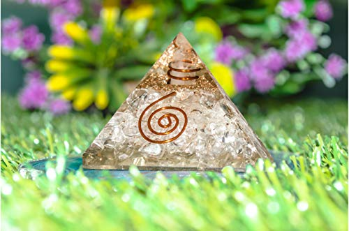 Clear Quartz Orgone Gemstone Pyramid Crystal Energy Generator Size: 2.5-3 Inch
