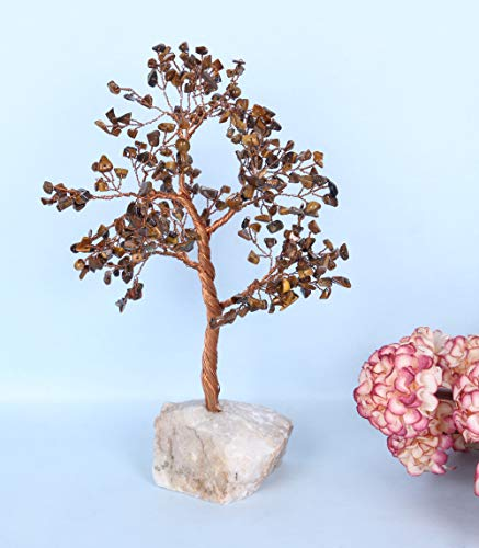 Tiger Eye Gemstone Money Tree Feng Shui Bonsai with Quartz Base Size: 10-12 Inch