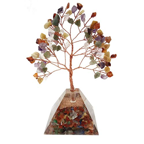 Crocon Mix Chakra Gemstone Money Tree Feng Shui Bonsai with Orgone Pyramid Base for Energy Generator Chakra Stone Balancing Reiki Healing EMF Protection Spiritual Home Office Decor Size: 7-8 Inch