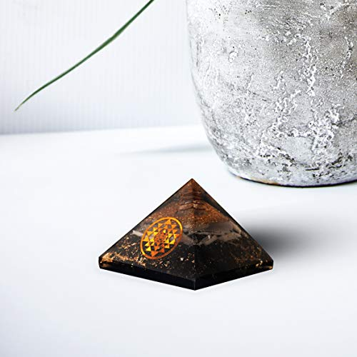 Selenite & Black Tourmaline Orgone Pyramid with Yantra Symbol Size: 2.5-3 Inch