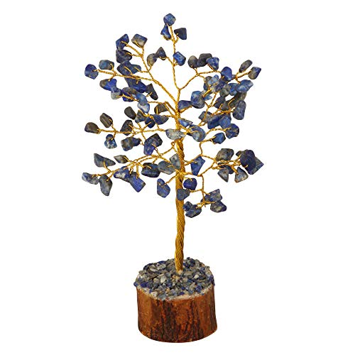 Lapis Lazuli Gemstone Feng Shui Bonsai Money Tree  Size: 7-8 Inch ( Golden Wire )