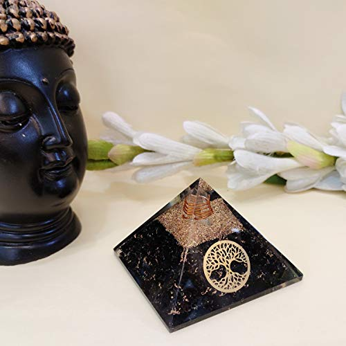 Exclusive Black Tourmaline Orgone Pyramid with Tree of Life Symbol