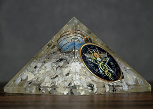 Rainbow Moonstone Orgone Pyramid with Blue Stone & Caduceus Symbol Size: 2.5-3 Inch