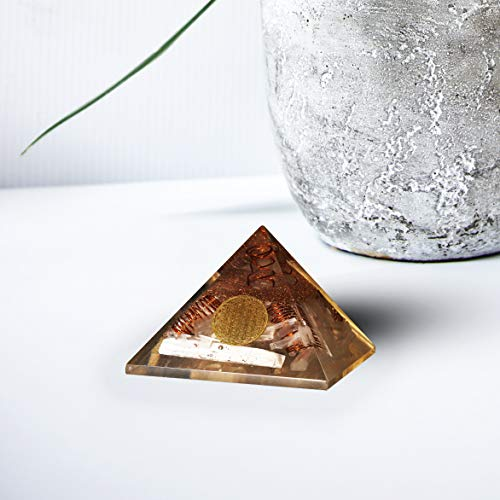 Selenite Orgone Pyramid with Crystal Point & 4 Copper Spring Metal Flower of Life Size: 3-3.5 Inch