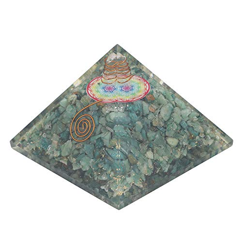 Green Aventurine Gemstone Orgone Pyramid with Flower of Life Symbol Size: 2.5-3 Inch