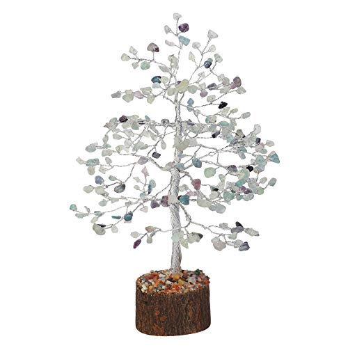 Fluorite  Gemstone Money Tree Silver Wire