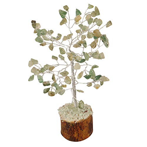 Green Jade Gemstone Feng Shui Bonsai Money Tree Size: 7-8 Inch ( Silver Wire )