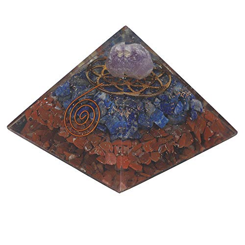 Red Jasper & Lapis Lazuli Orgone Pyramid with Flower of Life Symbol Size: 3-3.5 Inch