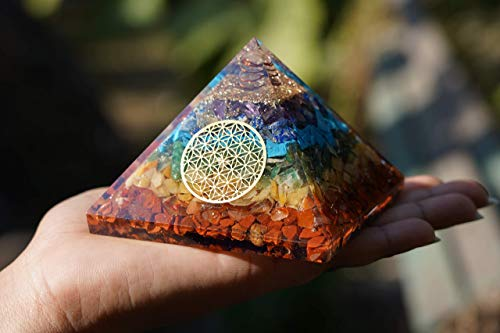 Seven Chakra Orgone Pyramid With Flower Of Life Symbol Size: 3-3.5 Inch