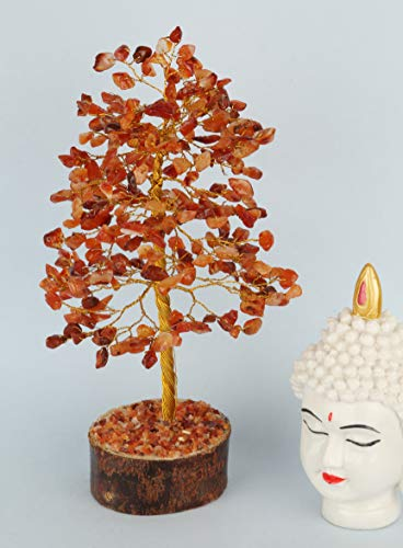 Carnelian Golden Wire Gemstone Money Tree Feng Shui Bonsai