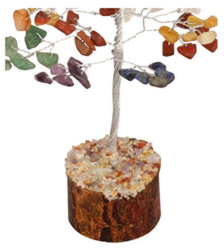 Crocon Seven Chakra Gemstone Money Tree Feng Shui Bonsai for Reiki Healing Stone Balancing Energy Generator Spiritual Home Interior Office Decor Size: 7-8 Inch