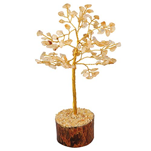Citrine Gemstone Money Tree Feng Shui Bonsai  Size: 7-8 Inch (Golden Wire)