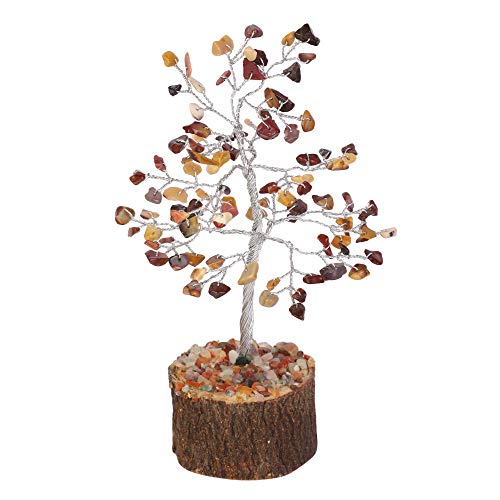 Mookaite Jasper Gemstone Bonsai Money Tree Size 7-8 inch (Silver Wire)