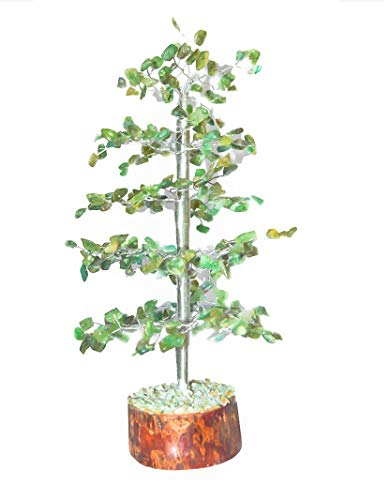 Green Aventurine Silver Wire Gemstone Feng Shui Bonsai Money Tree Size: 10 Inch