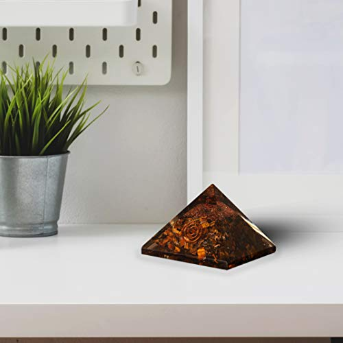 Tiger Eye Orgone Pyramid Crystal Point Energy Generator Size: 2.5-3 Inch