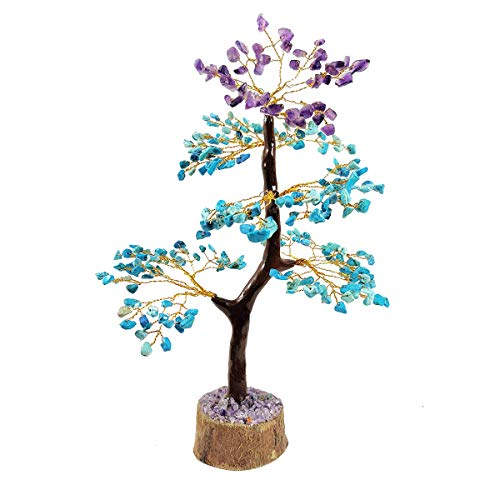 Amethyst & Turquoise Gemstone Money Tree Feng Shui Bonsai Money Tree Golden Wire Size 10-12""