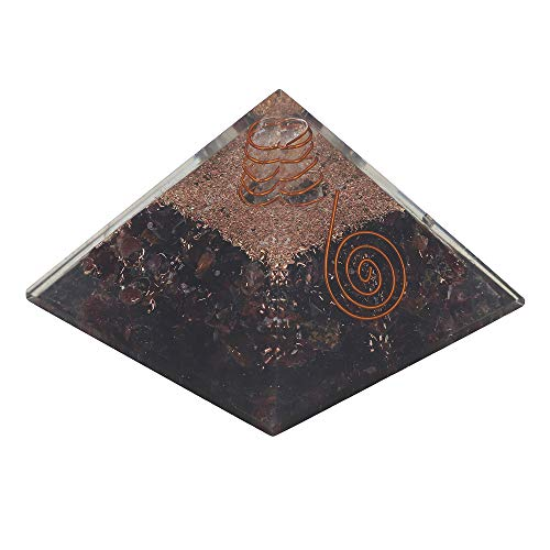 Garnet Gemstone Orgone Pyramid with Crystal Point  Size: 2.5-3 Inch