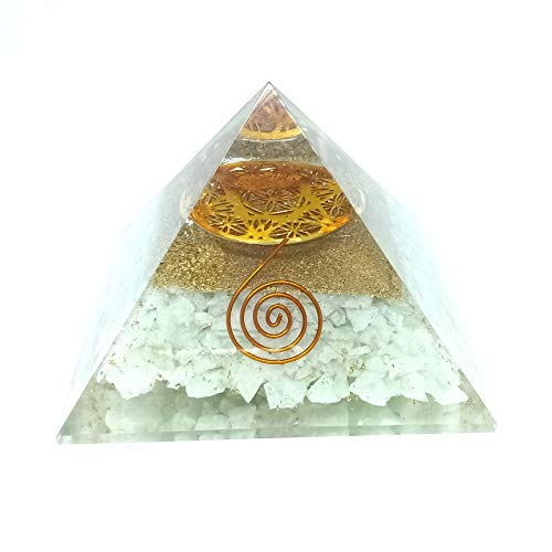 Amazonite Orgone Pyramid with Flower of Life Symbol Size: 3-3.5 Inch