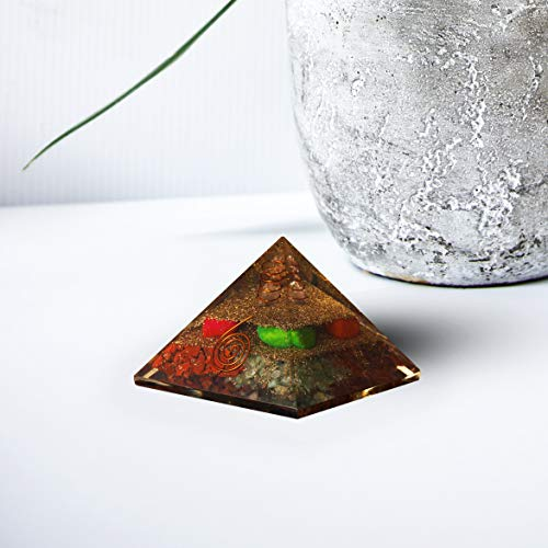 Exclusive Red Jasper Camel Jasper Carnelian & Green Jade Orgone Pyramid with Crystal Point Size: 3-3.5 Inch