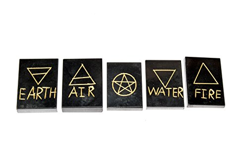 Black Tourmaline 5 Element Tumble Stones Set Engraved Earth Water Air Fire Ether Symbol Size : 35 mm
