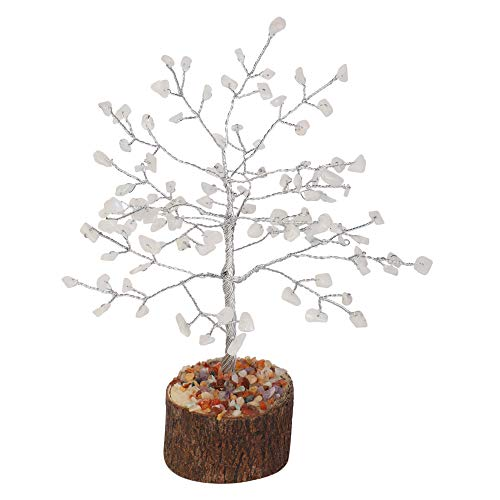 Rainbow Moonstone Gemstone Bonsai Money Tree  Size 7-8 inch