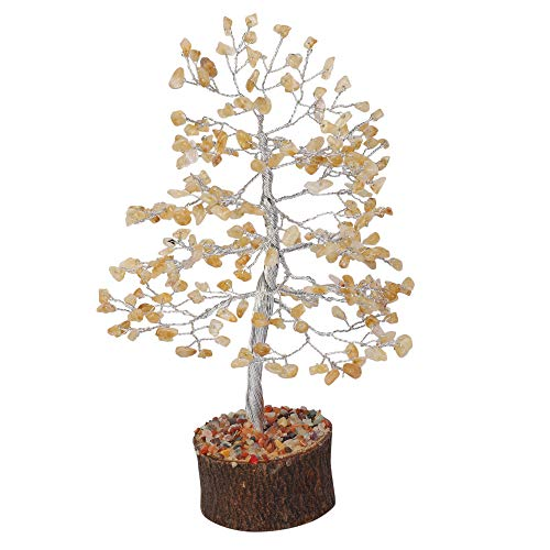 Citrine Silver Wire Gemstone Money Tree Feng Shui Bonsai