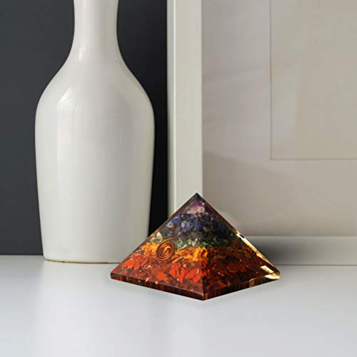 Seven Chakra Orgone Pyramid  Crystal Energy Generator Size: 1.5-2 Inch