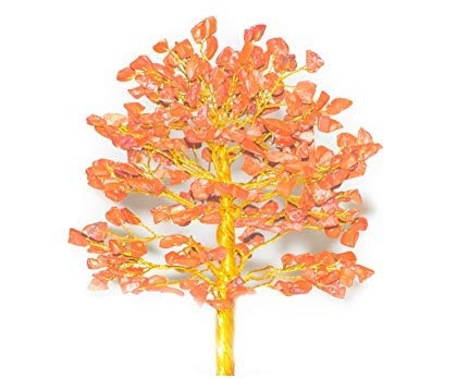 Red Jasper Golden Wire Gemstone Feng Shui Bonsai Money Tree Size: 10 Inch