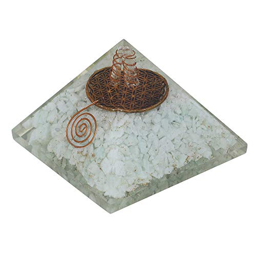 Amazonite Gemstone Orgone Pyramid with Flower of Life Symbol  Size: 3-3.5 Inch
