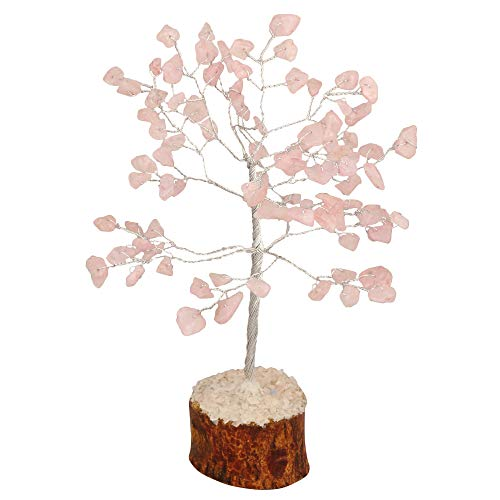 Rose Quartz Gemstone Feng Shui Bonsai Money Tree Size: 7-8 Inch
