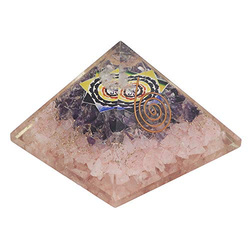 Rose Quartz & Amethyst Gemstone Orgone Pyramid with Om Symbol Size: 3 Inch