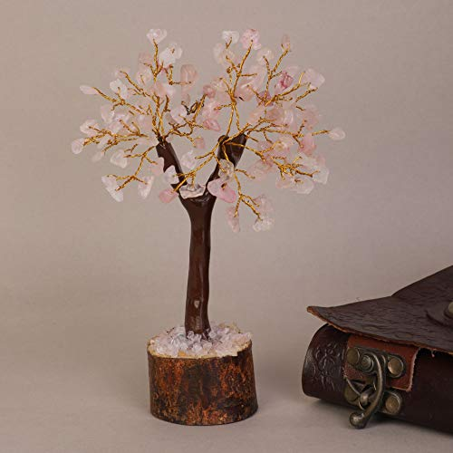 Rose Quartz Golden Wire Gemstone Money Tree Size: 7-8