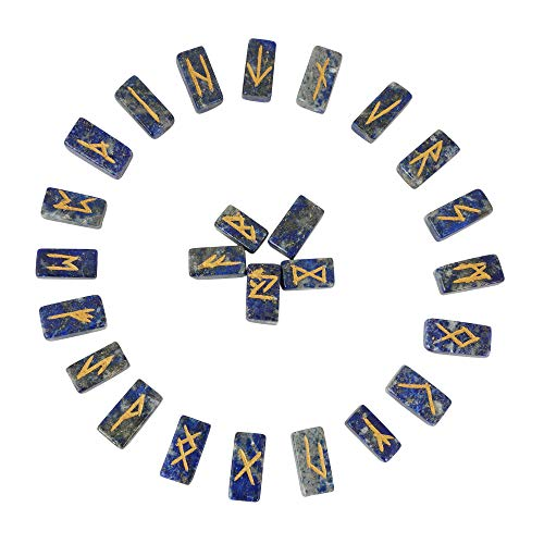 Lapis Lazuli Rune Stones Set with Elder Futhark Alphabet Engraved Symbol Size :- 20-25 mm