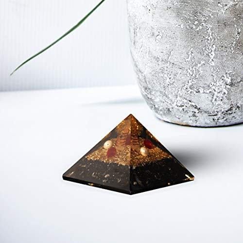 Black Tourmaline Orgone Pyramid | Rudraksh and Pearl beads Crystal Point Size 2.5-3""