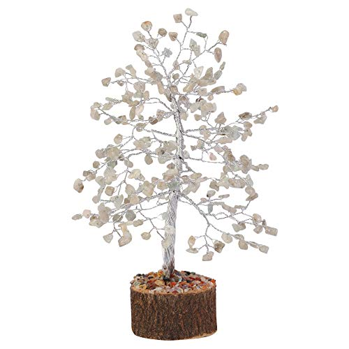Labradorite Silver Wire Gemstone  Feng Shui Bonsai Money Tree Size: 10