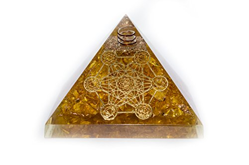 Yellow Aventurine Gemstone Orgone Pyramid with Crystal Point Size: 2.5-3 Inch