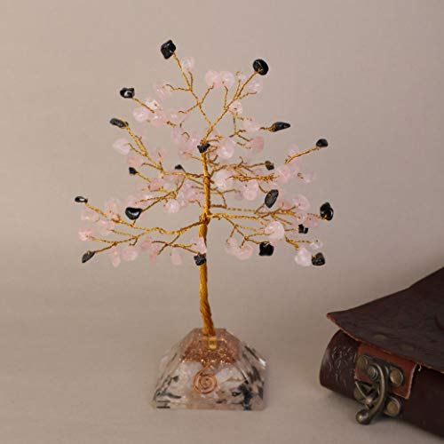 Rose Quartz & Black Tourmaline Gemstone Money Tree Feng Shui Bonsai with Orgone Pyramid Base Size: 6-7 Inch