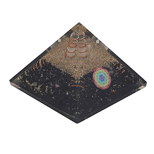 Black Tourmaline Gemstone Orgone Pyramid with Flower of Life Symbol Size: 2.5-3 Inch