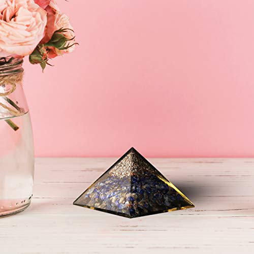 Lapis & Citrine Orgone Pyramid with Aluminium Tree Size 3-3.5 Inches