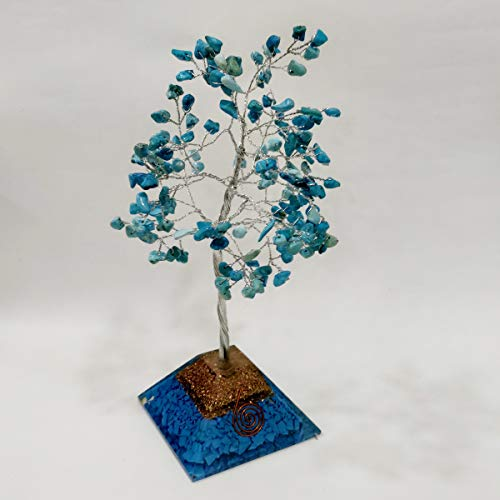 Turquoise Gemstone Money Tree Feng Shui Bonsai with Orgone Pyramid Base Size: 10 Inch